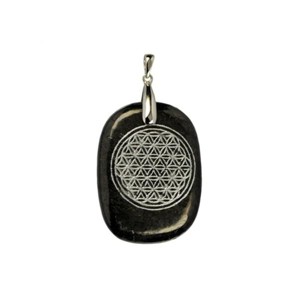 Shungite pendant flower of life, silver