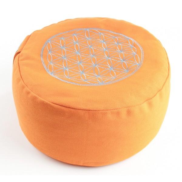 Orange flower meditation pillow flower of life