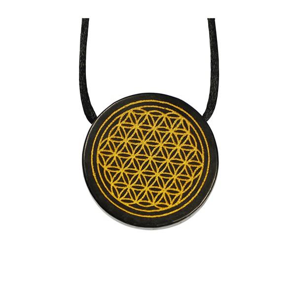 Shungite pendant medallion gold colored flower of life