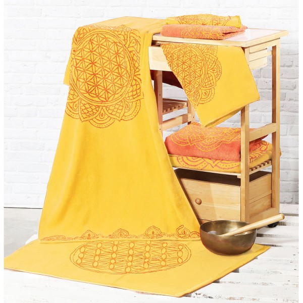 Large bath towel Flower of Life, sun yellow / coral with precious stones